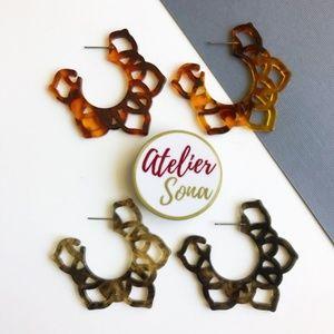 Acrylic Filigree Hoop Earrings